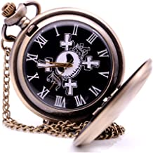 KDJSTORE Vintage Pocket Watch The Nightmare Before Christmas Jack Dial Analog Pendant Necklace Chain Fob Chain for Mens Christmas
