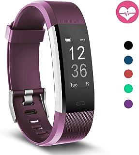 Fitness Tracker, MoreFit Slim HR Plus Heart Rate Smart Bracelet Pedometer Wearable Waterproof Activity Tracker Watch, Silver/Purple