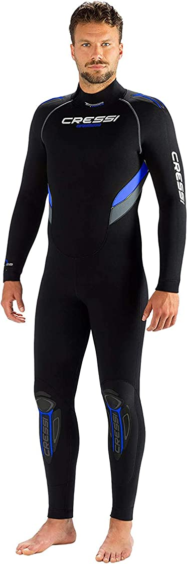 Muta subacquea uomo in neoprene high stretch disponibile in 5 o 7 mm - cressi castoro man monopiece wetsuit XLR106563