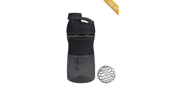 Black Genuine 20-oz Odor-Resistant BPA-Free Shaker Sport Mixer Bottle with Blending Ball Inside and Leak Proof Secure Top 2PO