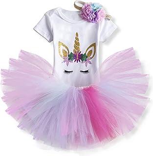 TTYAOVO Neonata 1 ° Compleanno 3pcs Insiemi con Unicorn Fascia e Pagliaccetto & Gonne