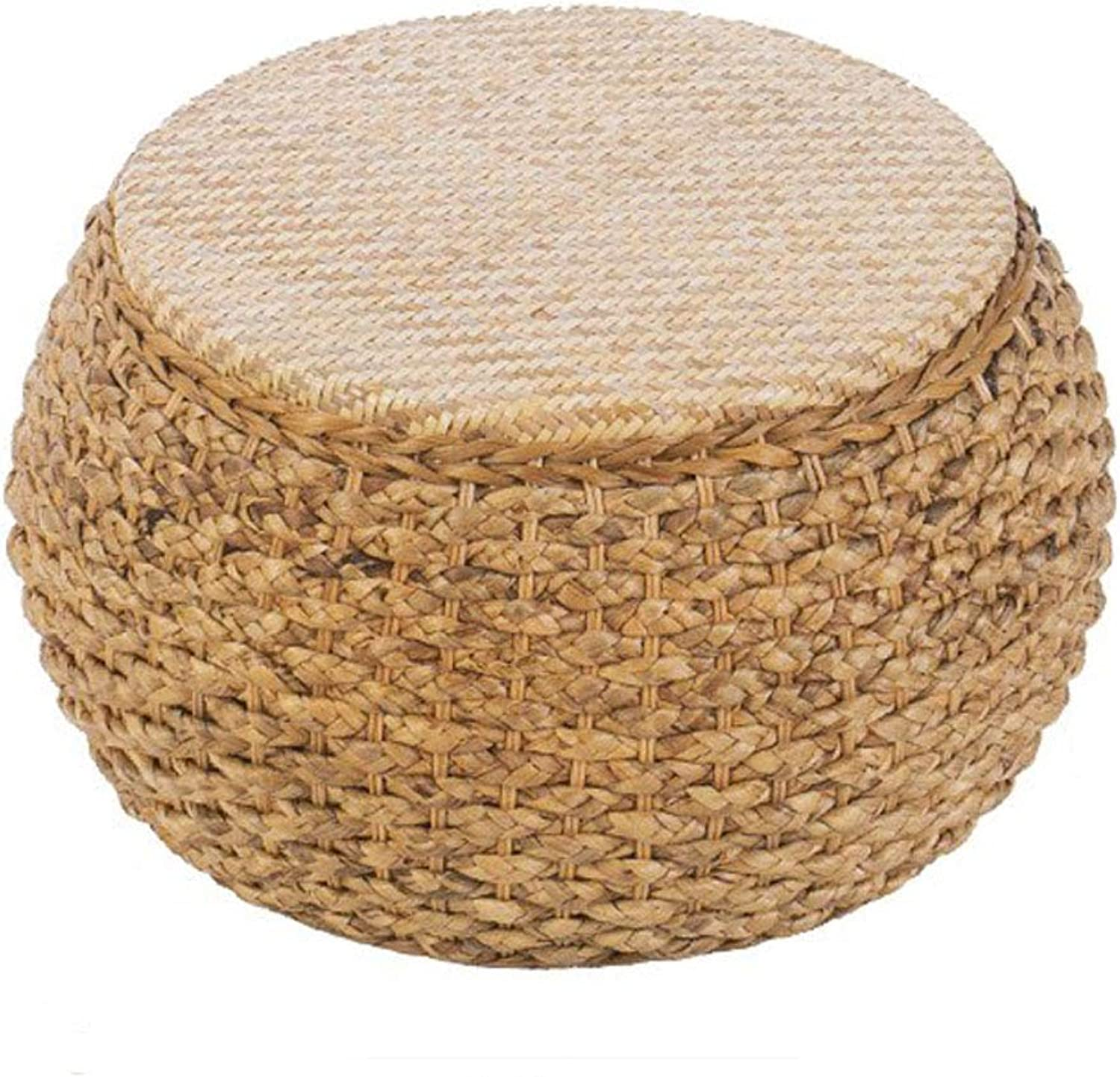 Rattan Bench Home Footstool, Round Home Coffee Table Stool Rustic Style Sofa Stool, Suitable for Living Room, Courtyard (Multi-Size Optional)