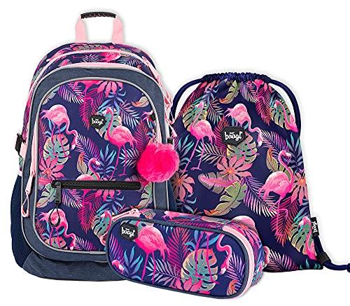 Schulrucksack Set 3 Teilig, Schultasche ab 3. Klasse, Grundschule Ranzen mit Brustgurt, Ergonomischer Schulranzen (Flamingo)