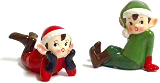 180D Retro Vintage Style Christmas Elf Figurines-Red and Green-Set of Two, Red, Green, 3.5