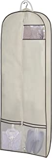 """SLEEPING LAMB 60"""" Trifold Garment Bag for Long Dresses Breathable Hanging Clothes Travel Bag with Shoe Pockets & 2 Carry Handles for Full Length Gown Wedding Dress Storage, Beige"""