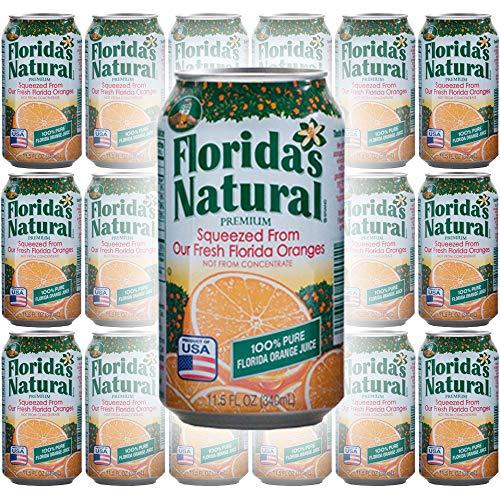Florida Natural Orange Juice 100% Juice, 11.5oz Can (Pack of 18, Total of 207 Oz)