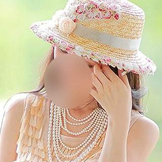 JOYS CLOTHING 麦わら帽子のドームの帽子のバイザー、女性のための花の平らな上の漁師の帽子