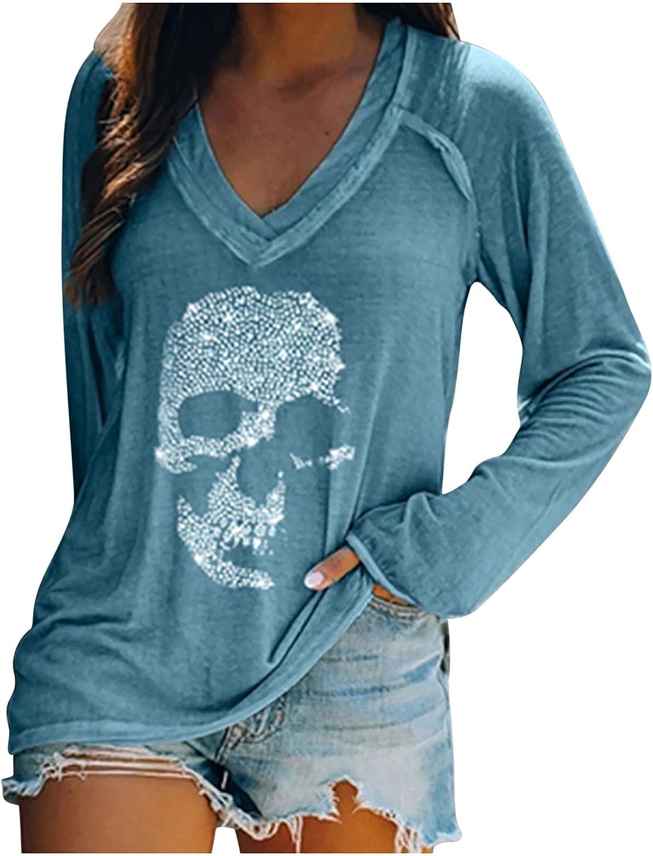 Fashion Women V-Neck Skull Print T Shirts Casual Plus Size Cotton Sport Blouse Tunic Long-Sleeved Tops Gray