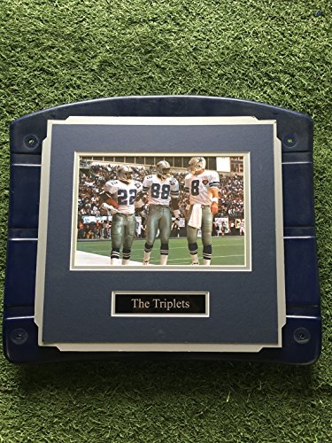Dallas Cowboys Texas Stadium Image On Seat Bottom framed photo of Famous Triplets! Aikman, Irvin, & Smith (The Cowboy House COA)