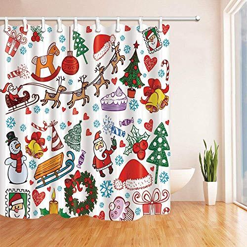 不适用 Shower curtain, Christmas motif with hat and garland,
