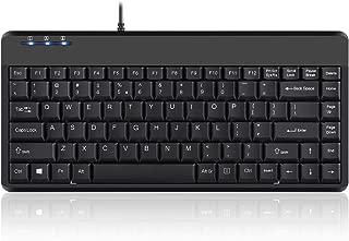 Perixx Periboard-409H, Mini Keyboard with USB Port - 12.40x5.79x0.79 Inch Dimension - Piano Finish Black - Build In 2X USB2.0 Hubs - USB Interface