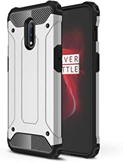 DEVMO Phone Case Compatible with ONE Plus 7 Hard Plastic Shell Case/Shockproof Hard Bumper/Protective Cover Silver