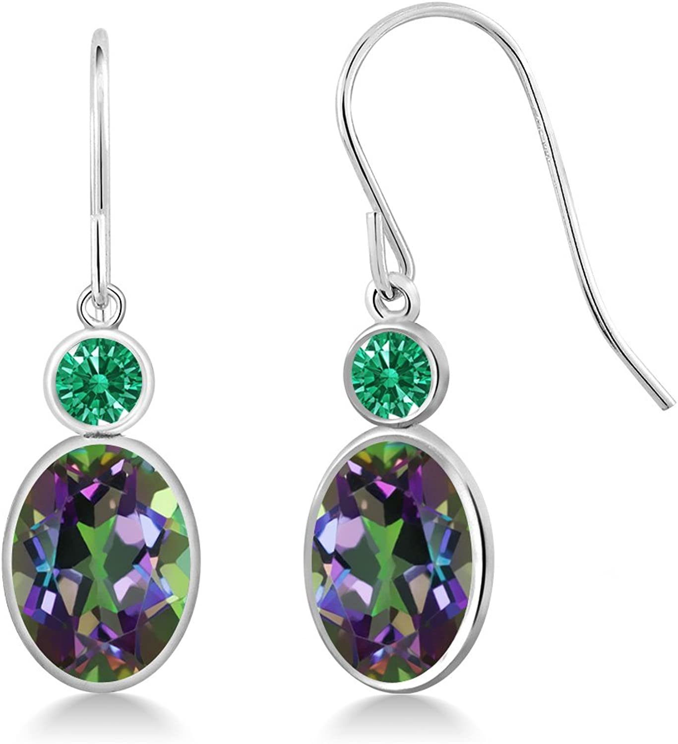 2.82 Ct Green 14K White gold Earrings Made With Swarovski Zirconia