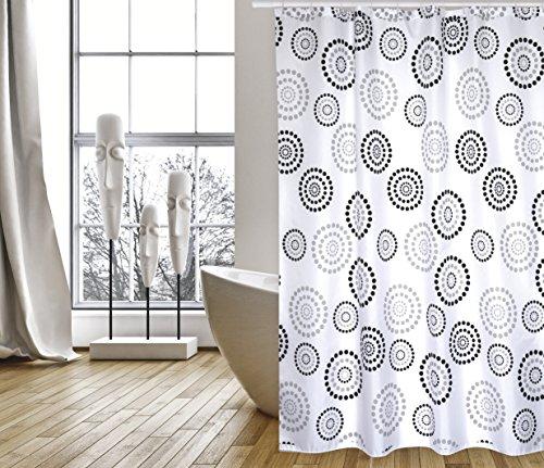 """MSV Cotexsa by Premium Anti-Schimmel Textil Duschvorhang - Anti-Bakteriell, waschbar, 100prozent wasserdicht, mit 12 Duschvorhangringen - Polyester, """"Dots"""" Schwarz/Weiß 180x200cm – Made in Spain"""