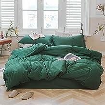 AMWAN Solid Green Duvet Cover Queen Size Modern Soft 100% Jersey Knit Cotton Comforter Cover Green Bedding Set Hotel Luxur...