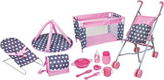 Lissi 5 Piece Doll Deluxe Nursery Play Set with 8 Accessories Role Toy