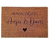 Personalisierte Kokos Fußmatte: Indoor Türmatte mit individuellen Vornamen | Geschenk für Paare zum Einzug, Einweihungsparty, Hochzeit