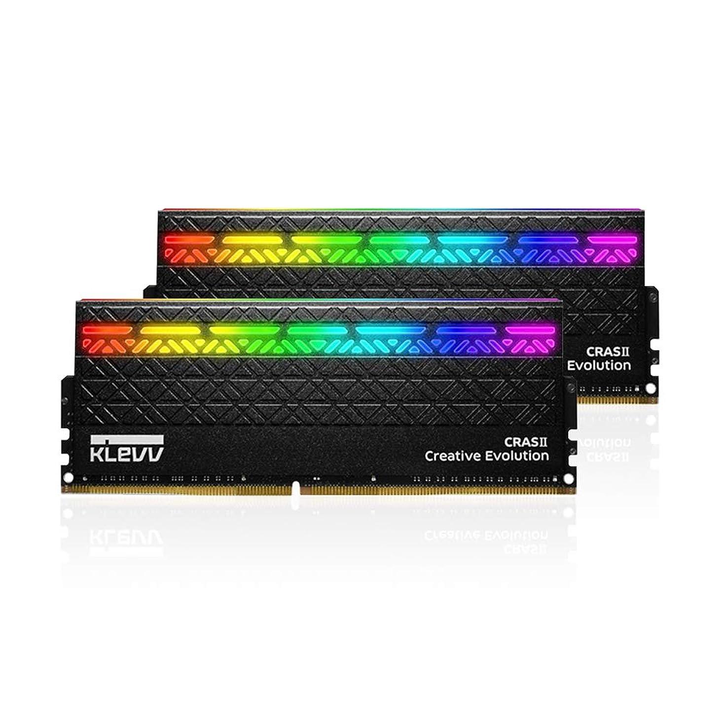検出器デクリメント持っているKLEVV デスクトップ オーバークロックPC用 メモリ DDR4-3200 8GB x 2枚 国内正規品 CRAS II RGB 288pin KM4Z8GX2A-3200-EC