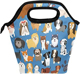 ALAZA Dog And Puppy Set Reusable Insulated Lunch Tote Picnic School Bag Animal Cooler Box for Men Women Ladies Children