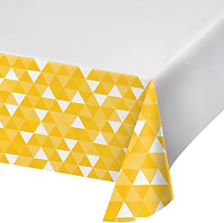 """Creative Converting 12Count Border Print Plastic Tablecover, 54 x 102"""", Fractal- School Bus Yellow"""