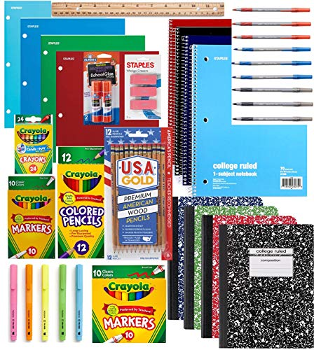 100 PIECE School Supply Kit Grades K-12 – School Essentials Includes Folders, Notebooks, Pencils, Pens and Much More…