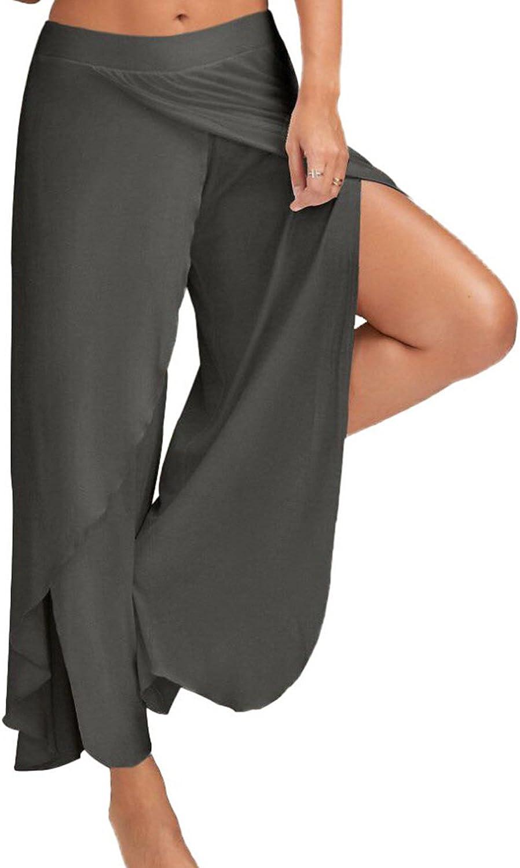 Choies Women's Stretch High Slit Wide Leg Pants Yoga Flowy Cropped Palazzo Pants