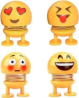 X Hot Popcorn 4 Pcs Funny Creative Emoji Shaking Head Dolls Car Interior Decoration Accessories(A)