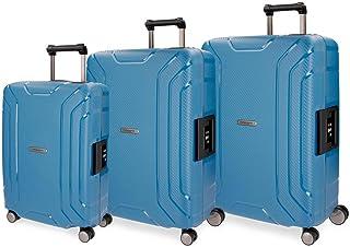 Movom Newport Juego de maletas Azul 55/65/75 cms Rígida Polipropileno Cierre TSA 211L 4 Ruedas Dobles Equipaje de Mano
