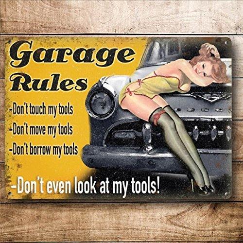 Plaque murale originale en métal avec inscription « Garage Rules », style vintage 20 x 15 cm
