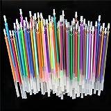 Paquete de 120 recambios para bolígrafos de gel, purpurina metálica, fluorescencia, fluorescencia, neón para libros de colorear, álbumes de recortes, dibujo, 24 colores