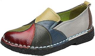 Zapatos Planos para Mujer Mocasines de Cuero Zapatos náuticos Antideslizantes Moda Patchwork Slip-On Punta Redonda Ballet ...