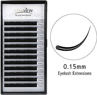 LASHVIEW 0.15 Thickness Eyelash Extensions C curl 9mm Individual Building False Eyelashes Extensions Professional Salon Use Natural Semi Permanent EyeLashes Pure Korean Silk Eyelashes