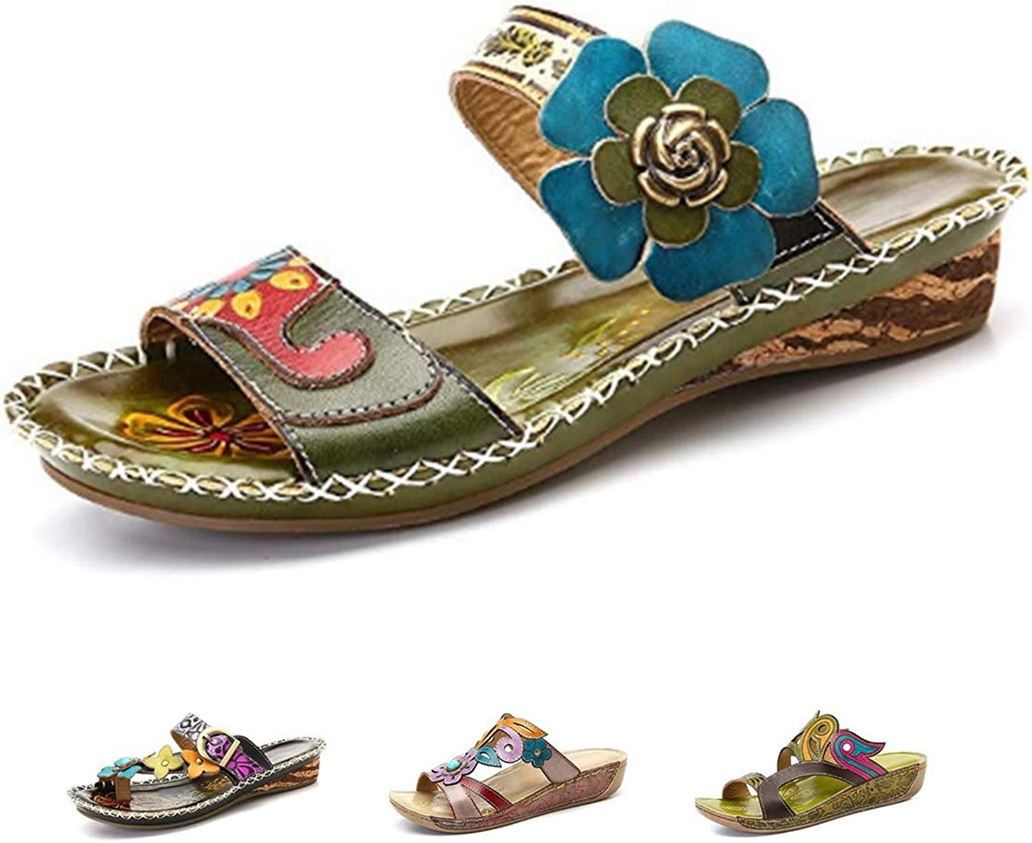 Gracosy Slide Sandals, Women Leather Flat Sandal Slip On Flip Flop shoes Flower Splicing Platform Sandals