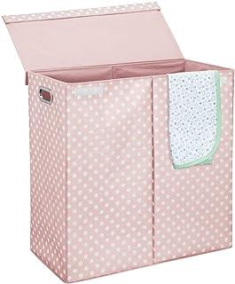mDesign panier à linge avec couvercle pour salle de bains – bac à linge pliable avec poignées et 2 compartiments – extra g...