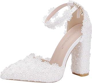 Fankle Women's Pumps Elegant Lace Pearls Closed Toe Platform High Heel Buckle Satin Evening Wedding Party Court Shoes Sandals