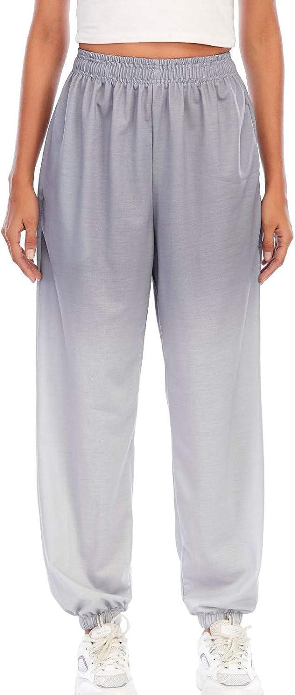 FUNEY Women's Baggy Gradient Printing Elastic Waist Sweatpants Joggers Pants Casual Cozy Active Yoga Lounge Pants
