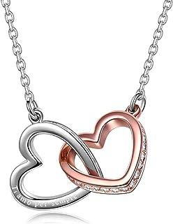 Collar, Mi Fatídico Amor, Colgante de Corazón a Corazón, Joyas de Mujer, Cristales de Swarovski, Bisutería para Mujer en Oro Rosa, Caja de Regalo