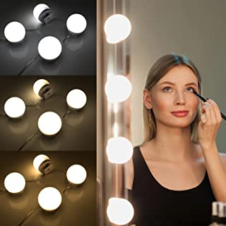 Vanity Mirror Lights Kit, Hollywood Style Mirror Lights Stick on,10 Dimmable Light Bulbs with 3 Adjustable Color Modes, US...