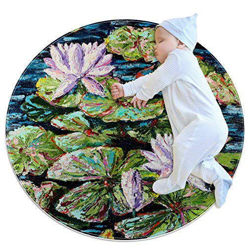 Jollylilliesmarkga - Alfombra redonda antideslizante para sala de estar, dormitorio, moderna microfibra suave, lavable a máquina, decoración del hogar, 2,62 pies de diámetro