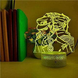 BTEVX Lámpara de ilusión 3D Luz de noche LED Control inteligente Kujo Jotaro Jojos Bizarre Adventure Anime Juguete para niños 7 colores Lámpara de mesa de ambiente de fiesta