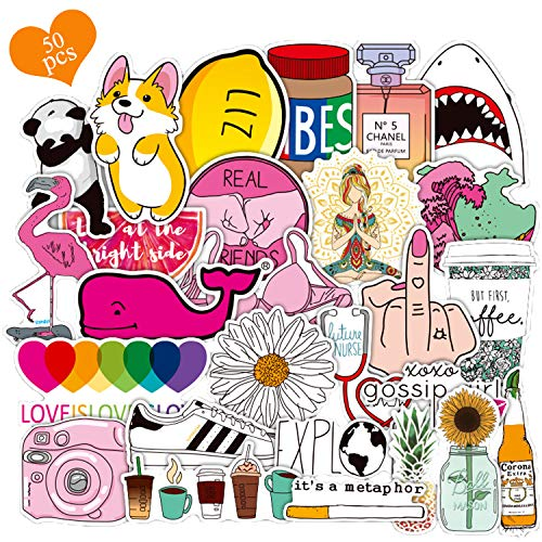Vinyls Stickers, 50 Stück Graffiti Decals, Wasserdicht Aufkleber, Cartoon Aufkleber, für Wasserflaschen, Laptop, Autos, Motorrad, Fahrrad, Skateboard, Gepäck, Kühlschrank, Auto-Styling