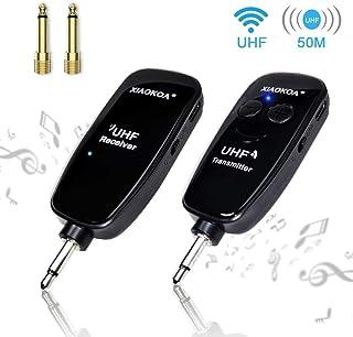 XIAOKOA Guitar Accessories - Wireless Guitar Transmitter Receiver - UHF Rechargeable Wireless Guitar System - Digital Audio Amplifier for Electric Bass Guitar