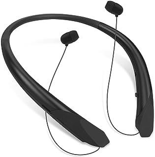 Bluetooth Neckband Headphones Retractable, Wireless Headset Retractable Earphones Noise Cancelling Sweatproof Stereo Earbu...