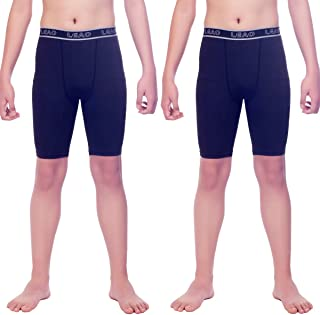 LEAO Youth Boys Compression Shorts 2-Pack Performance Athletic Underwear Sports Boxer Briefs