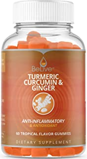 Turmeric Ginger with Curcumin Gummies, Joint Support and Pain Relief. Anti-Inflammatory, Antioxidant Supplement, Vegan Friendly, All Natural Chews for Adults & Kids, 60 Chewable Gummy Vitamins