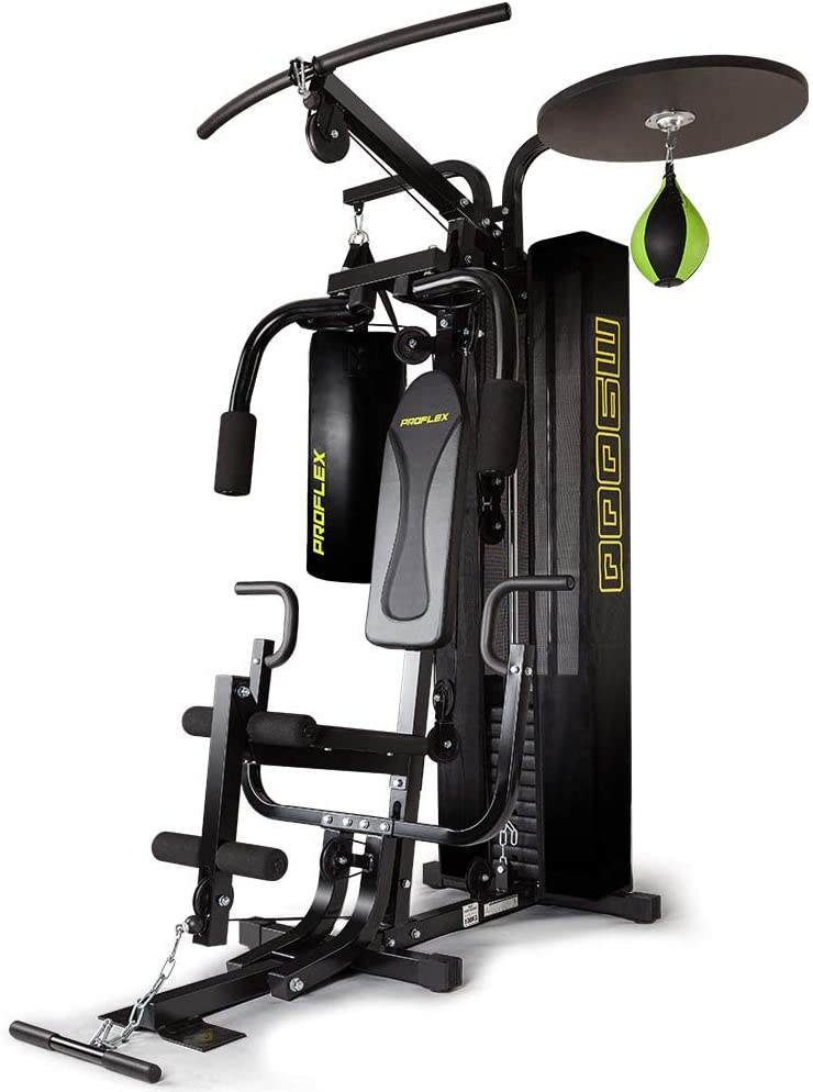 ProFlex M9000 Multi-Station Home Gym Equipment with Boxing Bag and Speedball