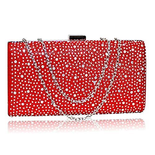 Rock on Styles Damen Pumps mit Strasssteinen, Knöchelriemen, Flacher Bockabsatz, Größe 525, Rot - Red Bag - Größe: One Size