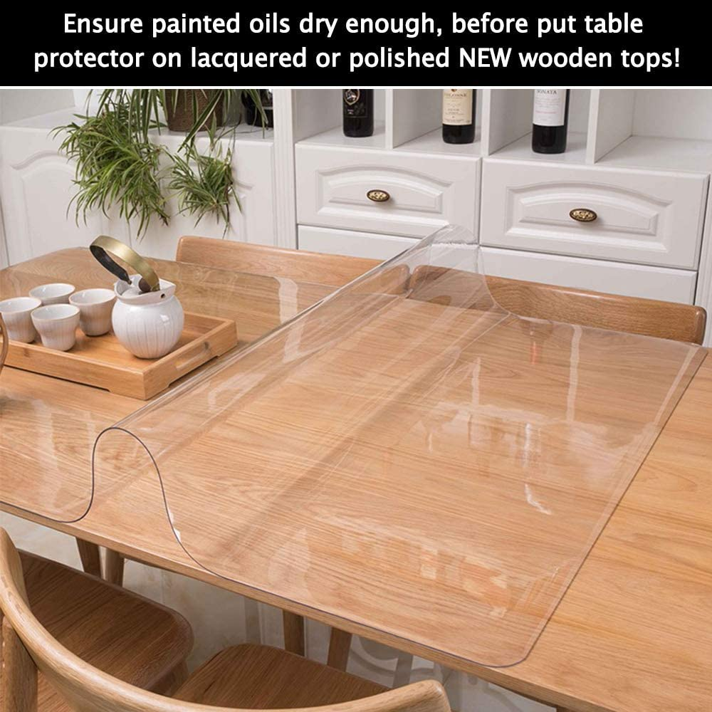 Clear Round Dining Table Protector Tablecloth Cover Desk Top Pad Mat for  Glass Furniture Kitchen Coffee Marble End Bed Sofa Side Bistro Bar Night ...
