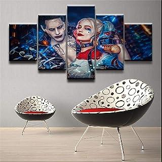 UYEDSR Lienzo Pintura 5 Carteles Moderno Minimalista Película Escuadrón Suicida Harley Quinn Joker decoración de la para d...