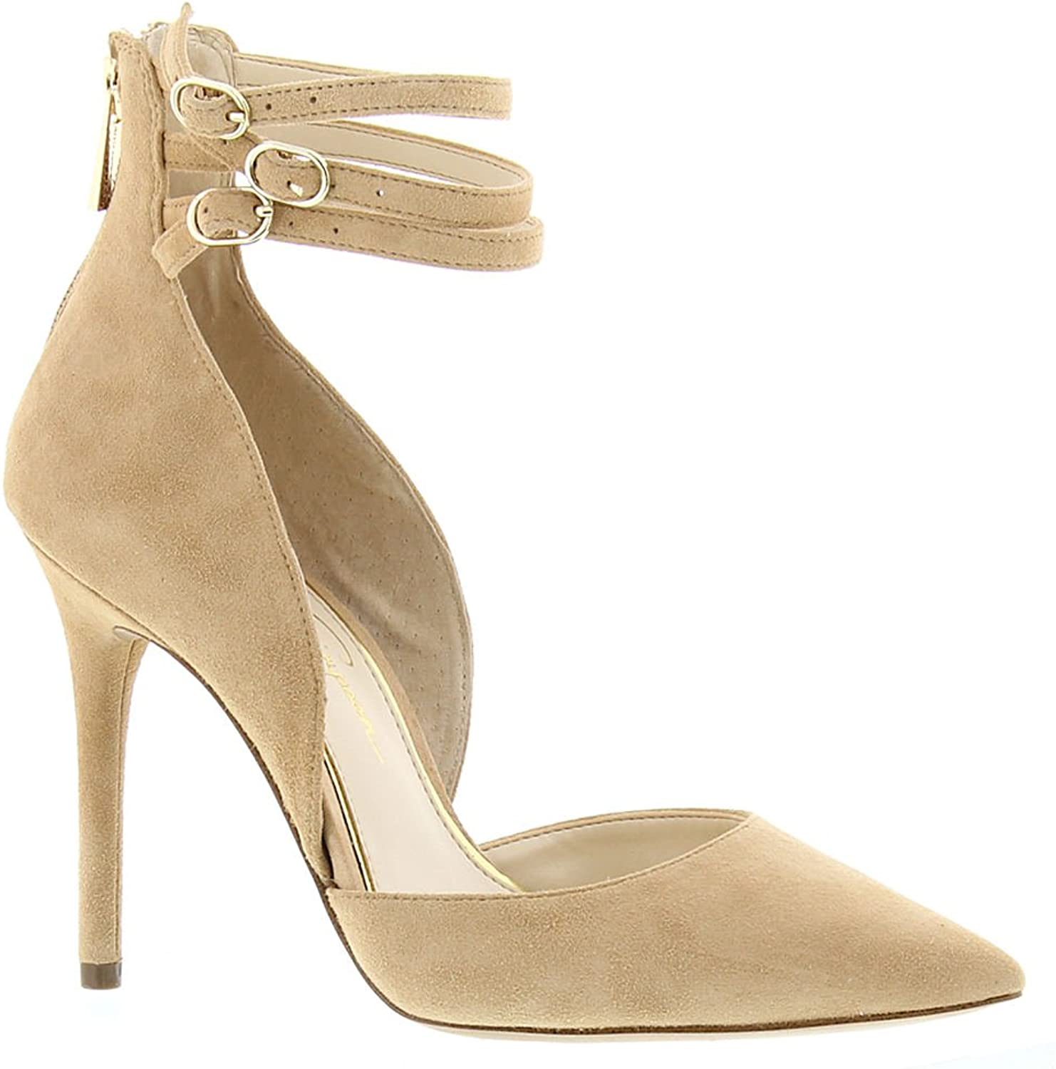 Jessica Simpson Womens Linnee Leather Pointed Toe Ankle Strap, Tan, Size 8.5